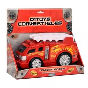 Camión Bombero Convertible Transformer Con Sonido Y Luz Ditoys 1260
