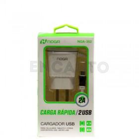 Cargador Rapido 2 Usb 2A Noga Nga-352