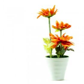 Maceta Ceramica Con Flores 20cm
