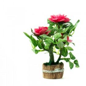 Maceta Barril Bonsai Con Flores Yw-3415