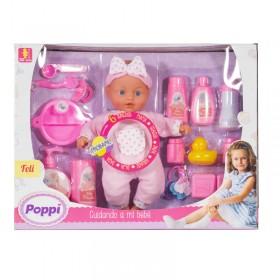 Bebé Cuidando A Mi Bebé Con Sonido + Accesorios Poppi Feli 5356-1708